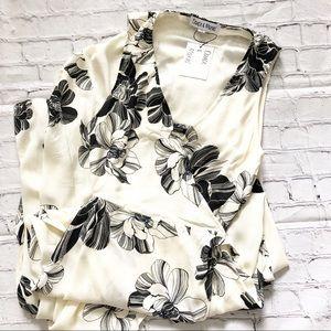 Dance & Marvel Black & White Floral Wrap Dress